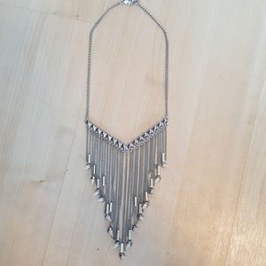 Bcbg long silver fringe necklace